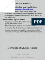 Elements of Music - Timbre and Sound Production Categories