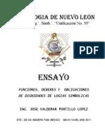 Funciones Deberes y Obligaciones de Dignidades de Logias Simbolicas(1)
