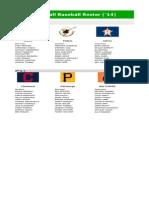 Fall Baseball Roster ('14)