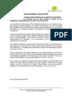 BANCADA PERÚ POSIBLE PIDE INTERPELAR A MINISTRO MAYORGA Y DEROGAR APORTE DE INDEPENDIENTES A AFPs