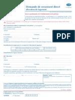 Demande de Versement Direct Pour Allocation Logement