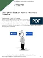 [Risolto] Come Disattivare Skydrive – Onedrive in Windows 8