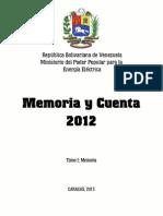 Memoria y Cuenta 2012 Tomo I