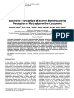 Electronic Transaction for Internet Banking and Its Perception to Malaysian Online Customers