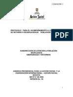 Protocolo de Para El Acompañamineto a Los Procesos de Retorno o Reubicación de Población Desplazada