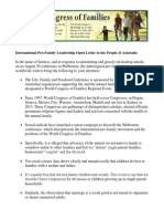 Melbourne Pro-Family Conference Leadership Petition 2014