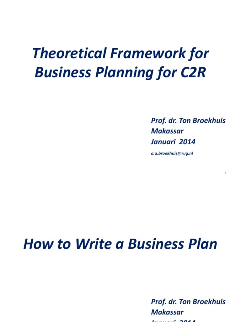 Theoretical Framework For Business Planning For C2r: How To Write A  Business Plan  Present Value  Business Economics