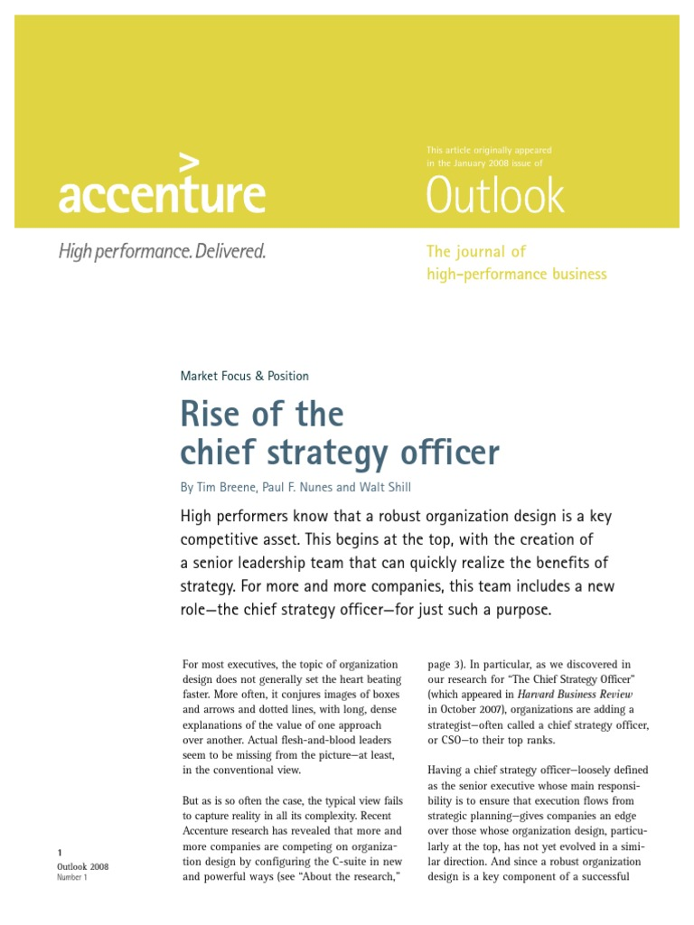 accenture outlook rise of the chief strategy officer june 2008 chief financial officer strategic management - Chief Strategy Officer Job Description