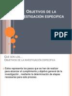 Objetivos de La Investigación Especifica EXPO