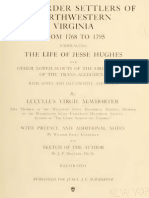 The Border Settlers of Northwestern Viginia 1768 to 1795