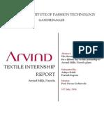 Arvind Textile Internship Report