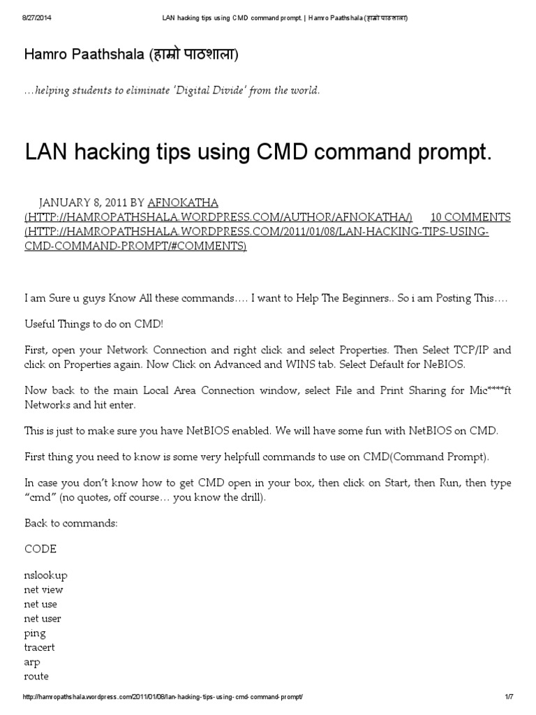 LAN Hacking Tips Using CMD Command Prompt   Computer