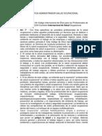 Codigo Etica Administrador Salud Ocupacional
