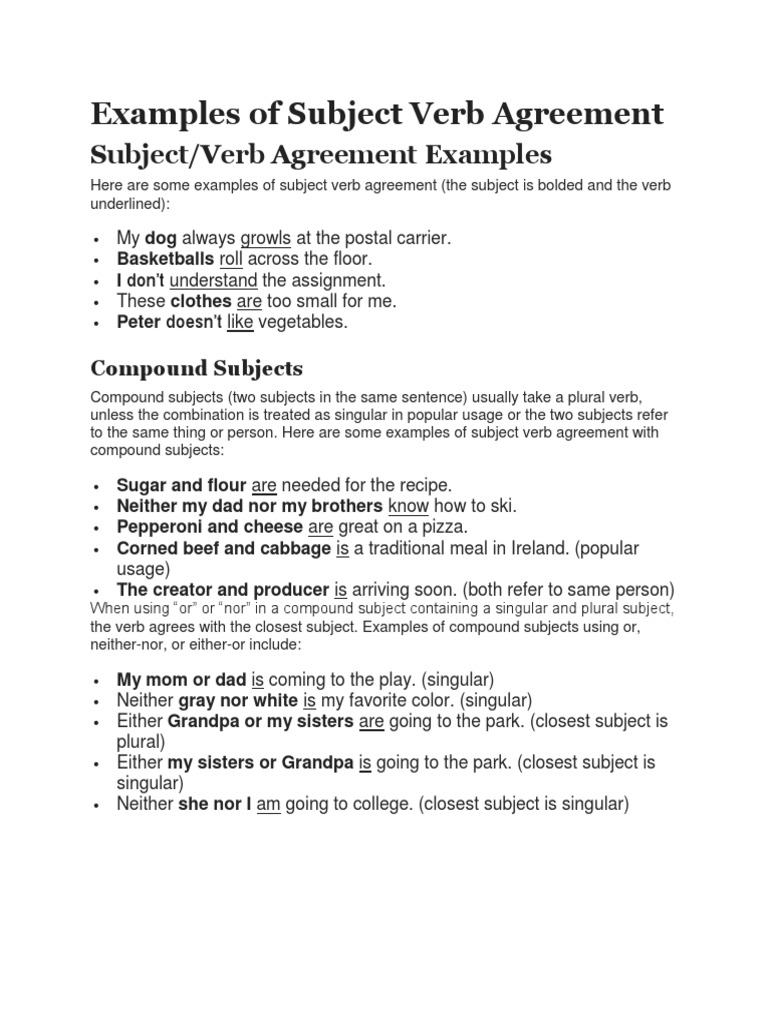 Workbooks Noun Verb Agreement Worksheets Free Printable