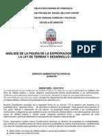 Anàlisis de La Figura de La Expropiacion Establecida en La Ley de Tierras y Desarrollo Agrario.