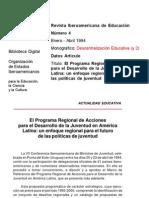 OEI (1994). El Programa Regional de Acciones Para El Desarrollo de La Juventud en América Latina