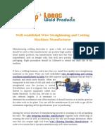 Wire Straightening and Cutting Machines Manufacturer
