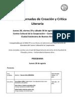 Segundas Jornadas de Creación y Crítica Literaria- CCC-Ubacyt - Programa 2014