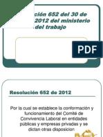 Resolución 652 Del 30 de Abril de 2012 EXPOSICION