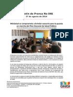 Boletin 046_MinSalud Se Compromete a Brindar Asesoría Para La Puesta en Marcha Del Plan Decenal de Salud Pública