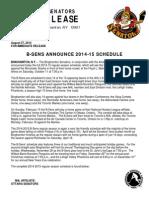 Binghamton Senators Release 2014-15 Schedule