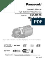 PANASONIC HC-X920 MANUAL FULL
