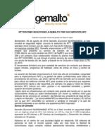 NTT DOCOMO SELECCIONÓ A GEMALTO POR SUS SERVICIOS NFC
