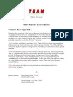 TEAM Press Release 4, 27aug14