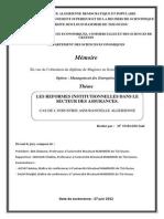 Memoire de Magister OUBAZIZ Said Soutenu Le 27-06-2012 Les Reformes Institutionnelles Dans Le Secteur d