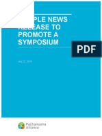 Sample News Release for a Symposium