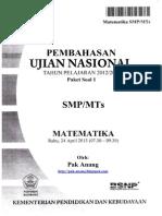 Pembahasan Soal UN Matematika SMP 2013 Paket 1