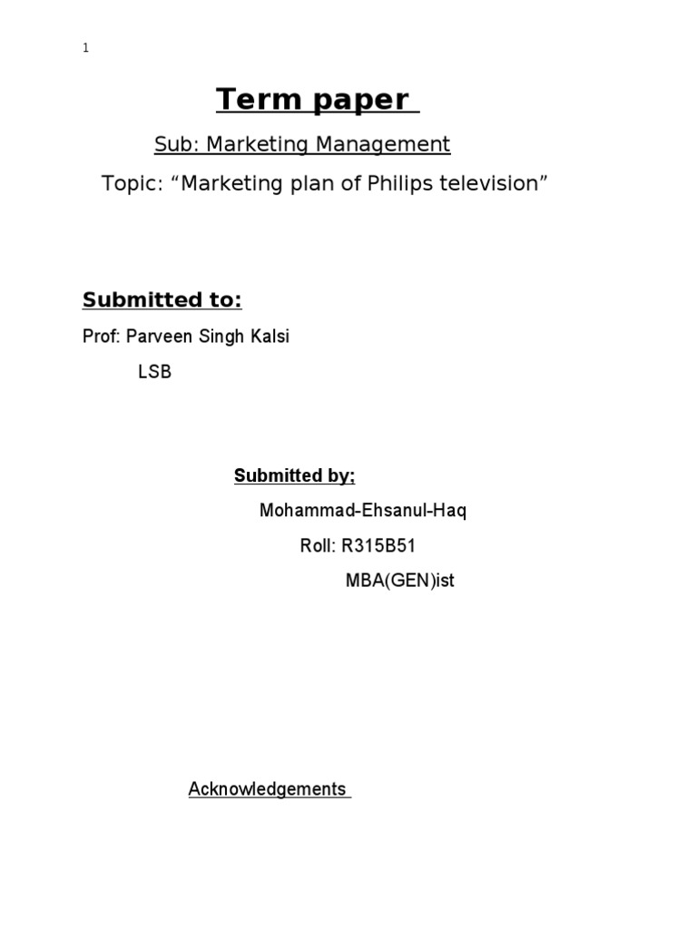 Marketing term papers