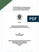 Analisis Efektivitas Organisasi Penjualan Industri Farmasi Semarang