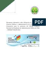 Documento Informativo Sobre Delegación de La Carrera de Ciencias Políticas y Administrativas de La Universidad de Concepción Para La Asistencia Del XXVIII Congreso Nacional de Estudiantes de Administraci