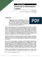 BENITO, A. (1997). La Teoría General de La Información, Una Ciencia Matriz