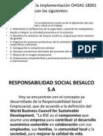 Ventajas de La Implementación OHSAS 18001 y Responsabilidad Social