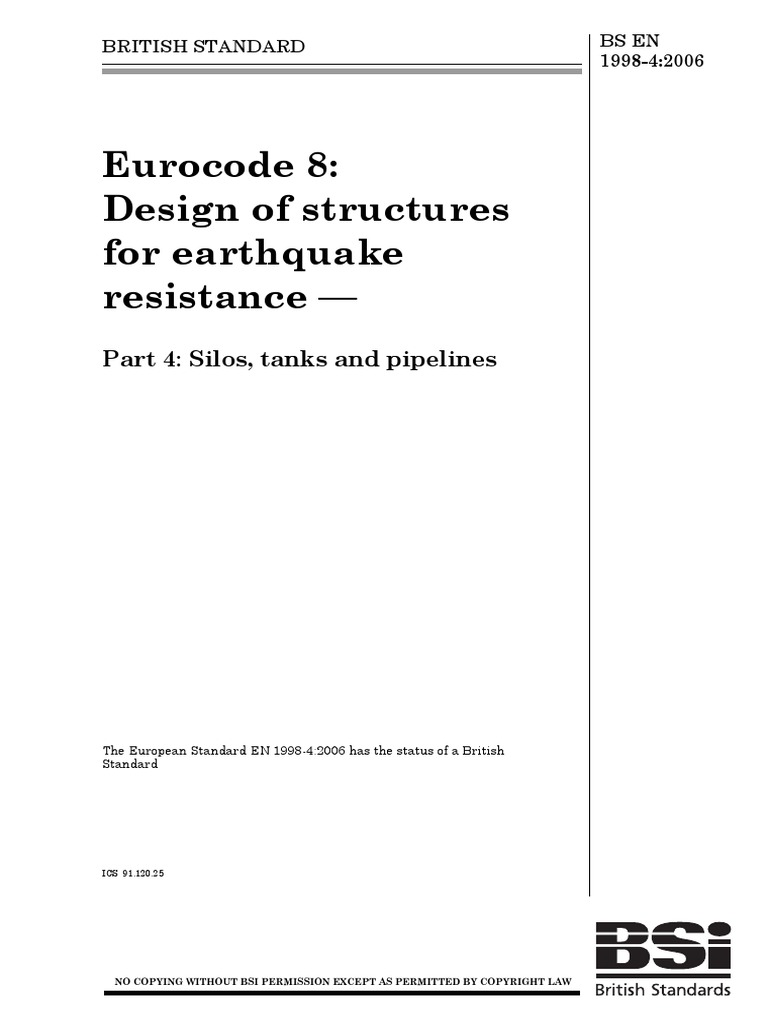Eurocode 8 Design of Structure for Earthquake Resistance Part 4 Silos Tanks  Pipilines | Civil Engineering | Engineering