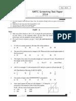 NMTC 2014 Screening Test Paper Sub-Junior 7-8