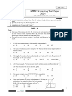 NMTC 2014 Screening Test Paper Sub-Junior 7-8