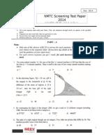 NMTC 2014 Screening Test Paper Junior 9-10