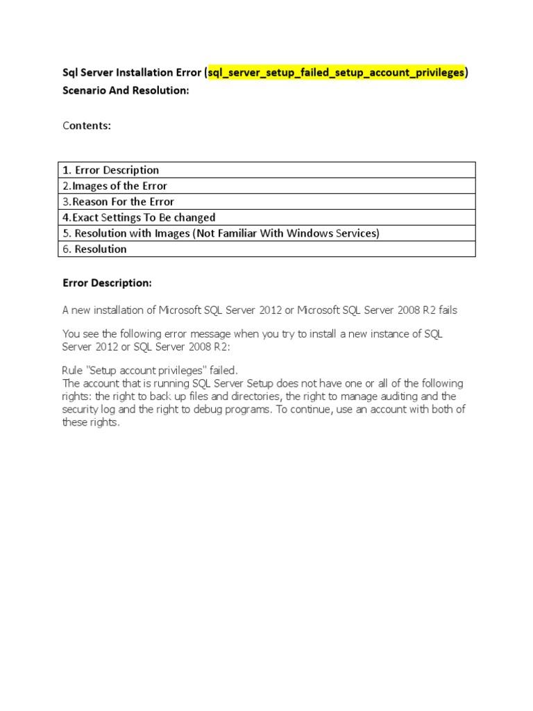 SQL Server Installation Error(Account Privilegeous)   User