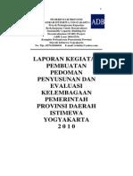 Penyusunan Dan Evaluasi Kelembagaan Pemerintah Provinsi Daerah Istimewa Yogyakarta