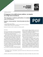 El Lenguaje en Las Publicaciones Médicas