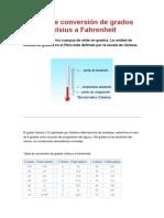 Tabla de Conversión de Grados Celsius a Fahrenheit