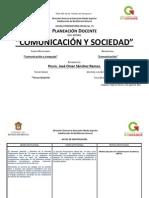 Planeación Didáctica de Comunicación y Sociedad Turno Vespertino