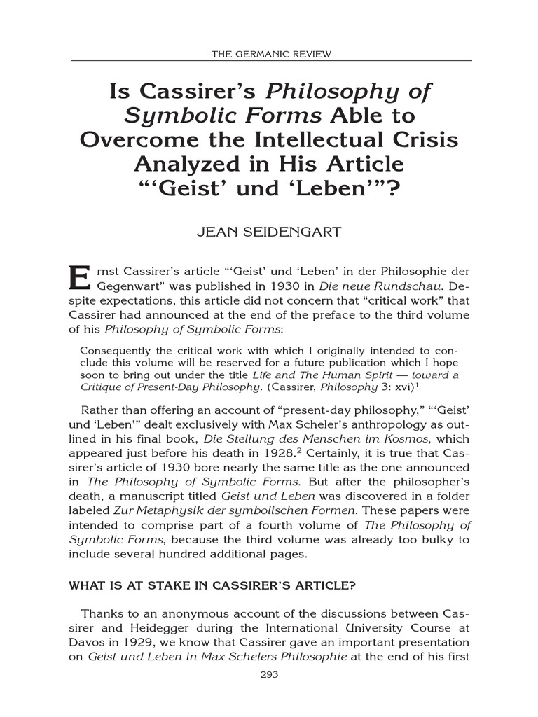 Can Cassirers Symbolic Forms Overcome The Crisis Pointed To In