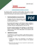 Licensing of Credit Reference Bureau
