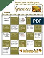 September Activity Calendar