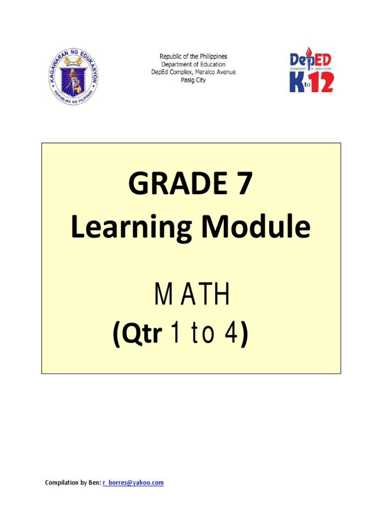 Kto12 grade 7 math q1 to q4 subtraction multiplication buycottarizona