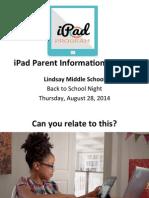 Lindsay MIddle School iPad Parent Presentation 82814